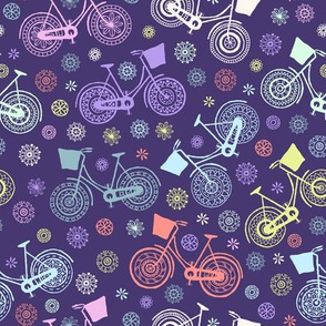 Flower power bicycles - purple