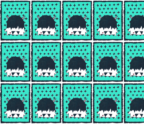 cute monster with teal fabric by andmonstertoys on Spoonflower - custom fabric