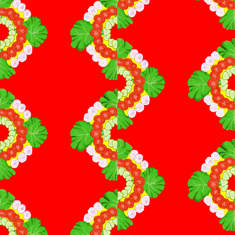 Cookout Fixings on red ground - pickles, onions, tomatoes, onions,  fabric by maryyx on Spoonflower - custom fabric