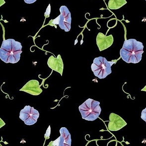 morning glories + bees on black / morning glories white / room decor kids baby nursery