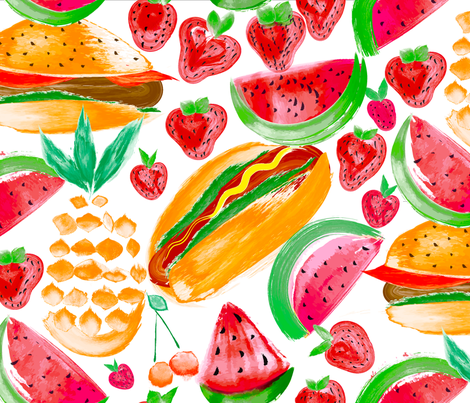 Sizzling Summer Pineapple Picnic fabric by orangefancy on Spoonflower - custom fabric
