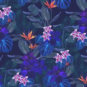 dark tropical digital pattern