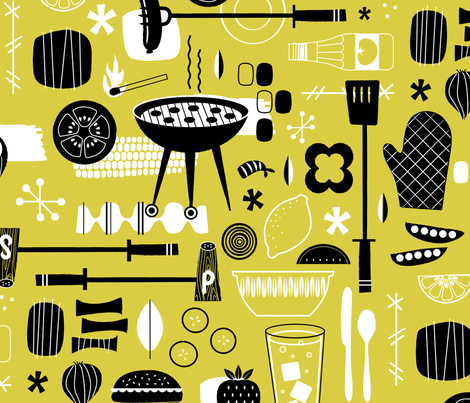 Backyard Barbecue Barkcloth - Mustard fabric by lellobird on Spoonflower - custom fabric