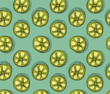 Lime Slices - Summer Citrus Print fabric by clairekalinadesigns on Spoonflower - custom fabric
