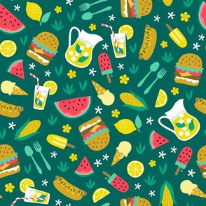 Summer picnic cookout with hamburger watermelon hotdog ice cream dark
