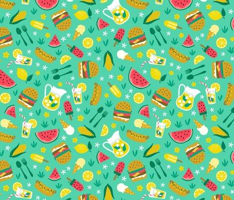 summer picnic cookout with hamburger watermelon hotdog ice cream