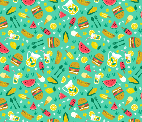 Summer picnic cookout with hamburger watermelon hotdog ice cream mint fabric by heleen_vd_thillart on Spoonflower - custom fabric