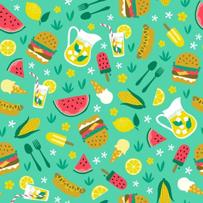 Summer picnic cookout with hamburger watermelon hotdog ice cream mint