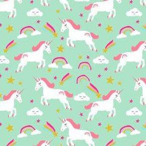unicorn bright colors fabric rainbow clouds stars cute girls unicorn fabric mint - smaller