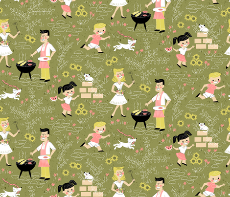 Summer Family Cookout fabric by mia_valdez on Spoonflower - custom fabric