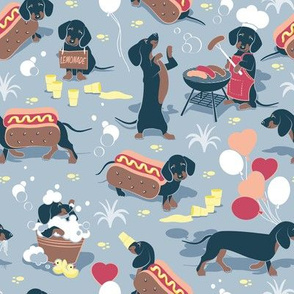 Hot dogs and lemonade // pastel blue background cute Dachshunds