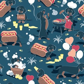 Hot dogs and lemonade // dark blue background cute Dachshunds
