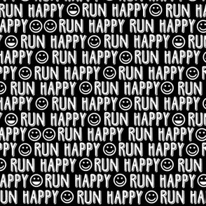 run happy faces black & white