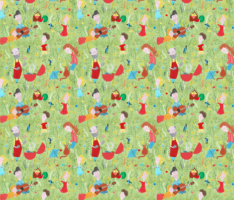 Pattern #76 - Family Summer Cookout fabric by irenesilvino on Spoonflower - custom fabric