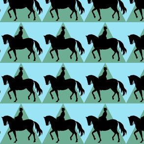 Dressage Horse and Rider - Sky Blue Green