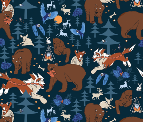 Forest Cookout evening fabric by colour_angel_by_kv on Spoonflower - custom fabric