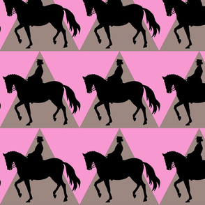 Dressage Horse and Rider - Brown Pink