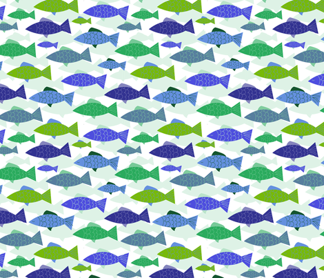 School of Fish - Blue-Green fabric by curtis_mcgintus on Spoonflower - custom fabric