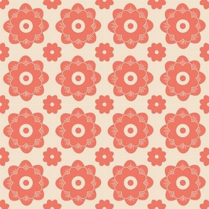 Geometric Flowers - Peach