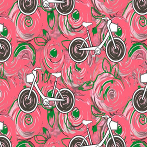 Bicycling by bed of roses