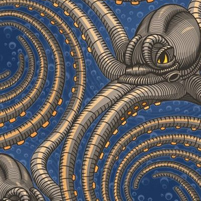 ★ KRAKEN ' ROLL ★ Navy Blue - Large Scale / Collection : Kraken ' Roll – Steampunk Octopus Print