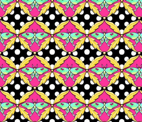 luna moth polka dot damask fabric by beesocks on Spoonflower - custom fabric