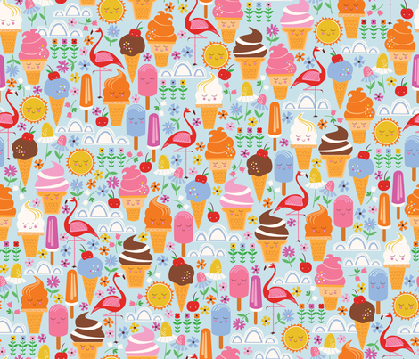 Outdoor Ice Cream Social  fabric by oliveandruby on Spoonflower - custom fabric