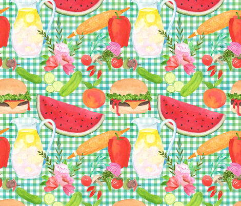 Summertime Cookout BBQ! fabric by vo_aka_virginiao on Spoonflower - custom fabric