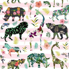 "8"" Patchwork Tropical Safari - Pink Stripes"