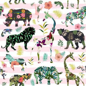 "21"" Patchwork Tropical Safari - Pink Stripes"