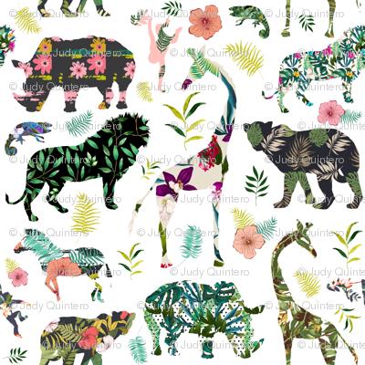 "21"" Patchwork Tropical Safari - White"