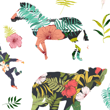 "21"" Patchwork Tropical Safari - White fabric by shopcabin on Spoonflower - custom fabric"