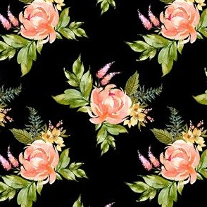 "4"" Ellie Florals - Black"