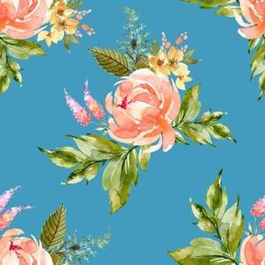 "8"" Ellie Florals - Bright Blue"