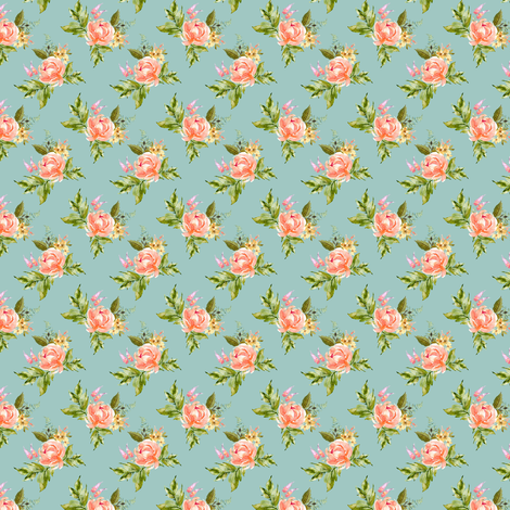 "1.5"" Ellie Florals - Green fabric by shopcabin on Spoonflower - custom fabric"