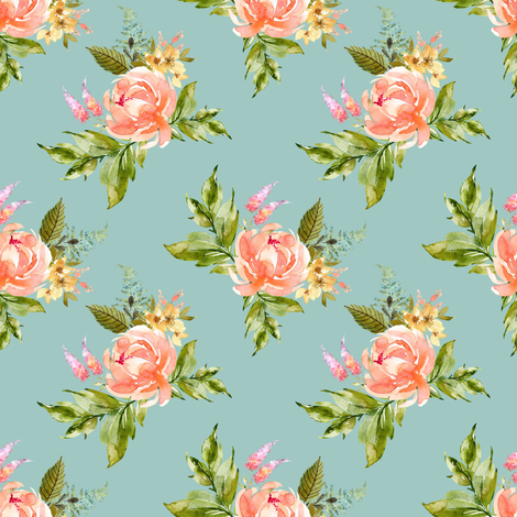 """4"""" Ellie Florals - Green fabric by shopcabin on Spoonflower - custom fabric"""