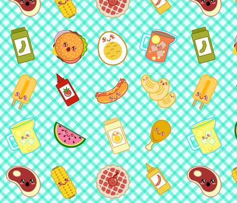Superflat Cookout fabric by cynicalwoman on Spoonflower - custom fabric