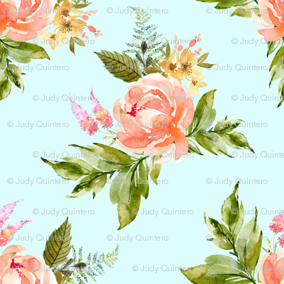 "1.5"" Ellie Florals - Light Blue"