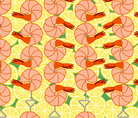 shrimp on lemon slices fabric by victorialasher on Spoonflower - custom fabric