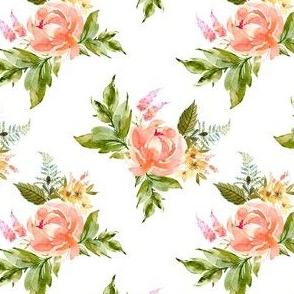 """4"""" Ellie Florals - White"""