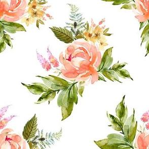"""8"""" Ellie Florals - White"""