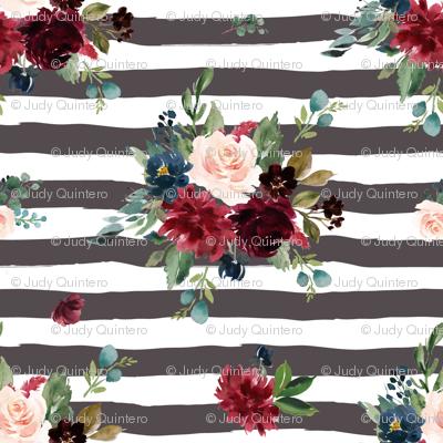 "1.5"" Rustic Boho Florals - Brown Stripes"