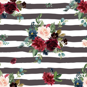 "21"" Rustic Boho Florals - Brown Stripes"