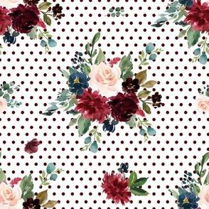 "8"" Rustic Boho Florals - Burgundy Polka Dots"