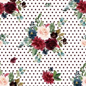 "21"" Rustic Boho Florals - Burgundy Polka Dots"