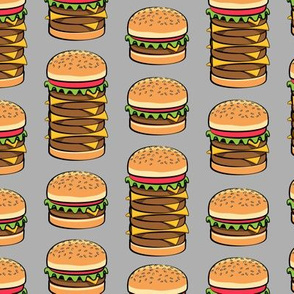 I love hamburgers - cookout fabric - grey