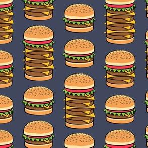 I love hamburgers - cookout fabric -adventure blue