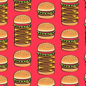 I love hamburgers -cookout fabric - red