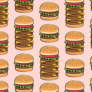 I love burgers - cookout fabric - pink