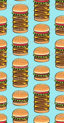 I love hamburgers -cookout fabric - blue